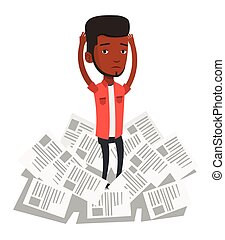 Stressed business man having lots of work to do. - African...
