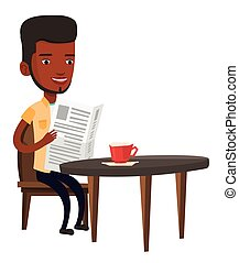 Man reading newspaper and drinking coffee. -...