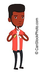 Young man quitting smoking vector illustration. - An...