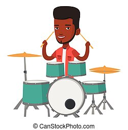 Man playing on drum kit vector illustration. -...