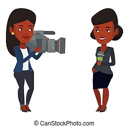 TV reporter and operator vector illustration. -...