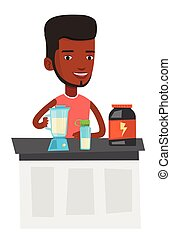 Young man making protein cocktail.