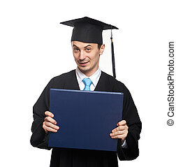 blue diploma in student hands isolated on white background