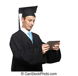 Graduation student with tablet isolated on white background