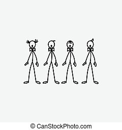 Cartoon icon of sketch stick singers figures in cute...