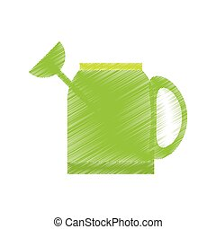 drawing green water can tool gardening vector illustration...
