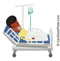 Patient lying in hospital bed with oxygen mask. - African...