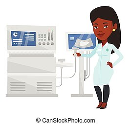 Female ultrasound doctor vector illustration. - Young...