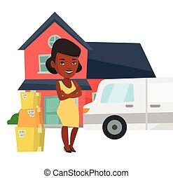 Woman moving to house vector illustration. -...