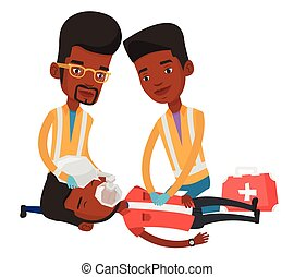 Paramedics doing cardiopulmonary resuscitation. - African...