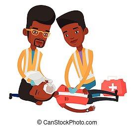 Paramedics doing cardiopulmonary resuscitation. - African...