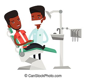 Patient and doctor at dentist office. - Man sitting in...
