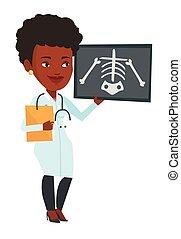 Doctor examining radiograph vector illustration. -...
