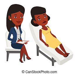 Psychologist having session with patient. - Young african...