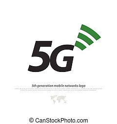 fifth - new 5th generation mobile network logotype. vector...