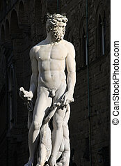 Neptune - Famous statue of Neptune in Florence, Italy Roman...