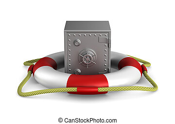lifebuoy and safe on white background. Isolated 3D image