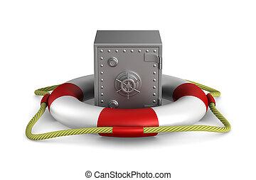 lifebuoy and safe on white background. Isolated 3D image