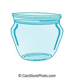 drawing glass jar utensil vector illustration eps 10