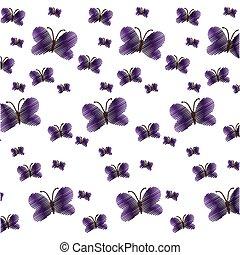 cute purple butterfly seamless pattern