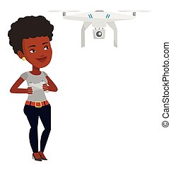 Woman flying drone vector illustration. - Young...