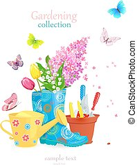 lovely gardening concept with spring flowers and flying butterfl
