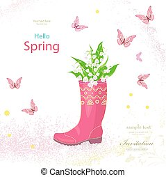 spring banner with bouquet of lilies of the valley in rubber boo