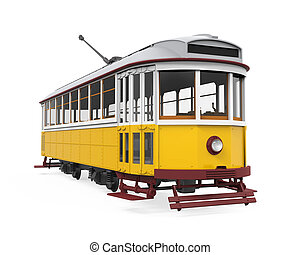 Vintage Tram Isolated - Vintage Tram isolated on white...
