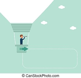 A young businessman conducts market analysis. - Concept flat...