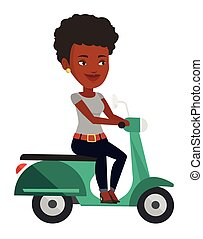 Young african-american woman riding scooter.