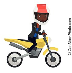 Young african-american woman riding motorcycle.