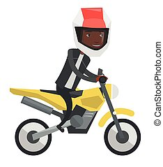 Young african-american man riding motorcycle.