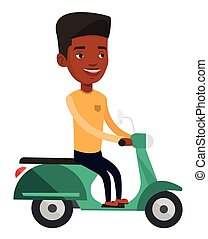 Young african-american man riding scooter.