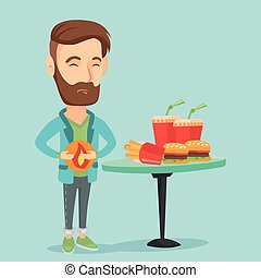 Man suffering from heartburn vector illustration