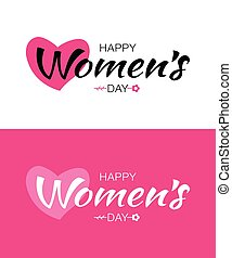 Set of Happy Womens Day typographic lettering isolated on white and pink background with heart and flower. Vector Illustration of a Women's Day card.