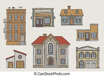 Set of different buildings drawn in sketchy style -...