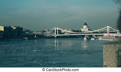 Ice drift on Moscow river, Krymsky bridge and the main...