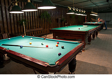 American billiards and pool - Balls and cue in the American...