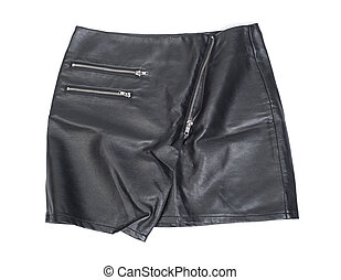 Leather skirt with zipper isolated