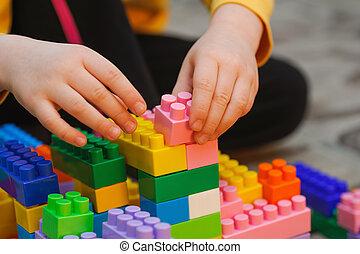 建設, 集合, 玩, 孩子