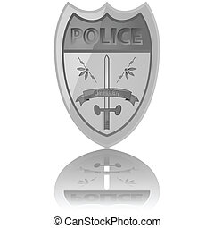 Police badge - Glossy illustration of a police badge...