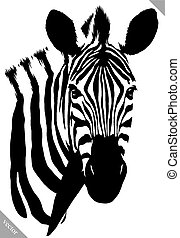 black and white linear paint draw zebra vector illustration...