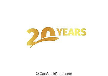 Isolated golden color number 20 with word years icon on white background, birthday anniversary greeting card element vector illustration.