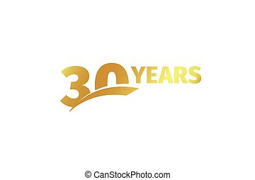 Isolated golden color number 30 with word years icon on white background, birthday anniversary greeting card element vector illustration.