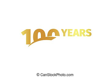 Isolated golden color number 100 with word years icon on white background, birthday anniversary greeting card element vector illustration.