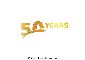 Isolated golden color number 50 with word years icon on white background, birthday anniversary greeting card element vector illustration.