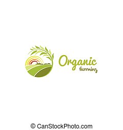 Isolated abstract green color round shape sunny meadow logo, agricultural logotype vector illustration.