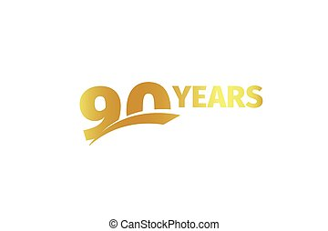 Isolated golden color number 90 with word years icon on white background, birthday anniversary greeting card element vector illustration.