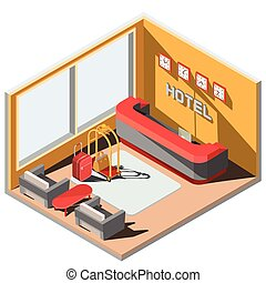 Vector 3D isometric illustration interior of hotel lobby with reception.
