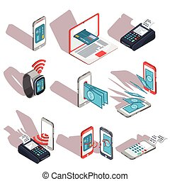 Isometric icons of mobile phones, laptop, wristwatches...